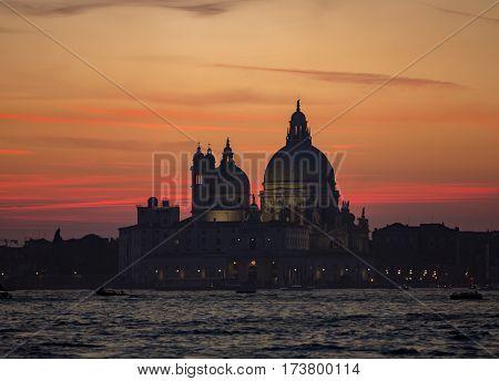 Santa Maria della Salute in Venice during sunset