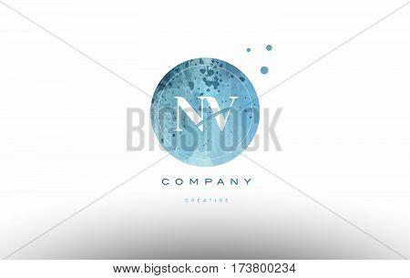 Nv N V  Watercolor Grunge Vintage Alphabet Letter Logo