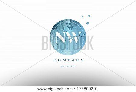 Nw N W  Watercolor Grunge Vintage Alphabet Letter Logo