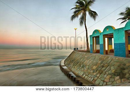 Calm beach at sunrise in Muscat Oman