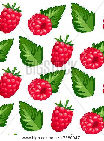 Vector illustration of raspberry razz berry and it leaf color fresh seamless beautiful food pattern background isolated on white background.