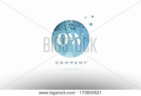 Ow O W  Watercolor Grunge Vintage Alphabet Letter Logo