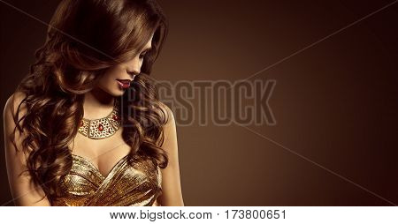 Woman Hairstyle Beautiful Fashion Model Long Brown Hair Style Sexy Girl in Elegant Golden Dress