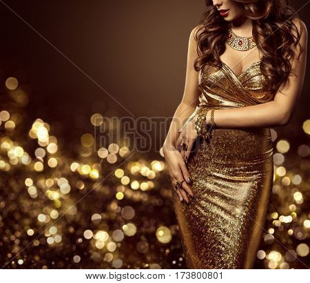 Fashion Model Body in Gold Dress Woman Elegant Golden Gown Sexy Unrecognizable Beautiful Lady