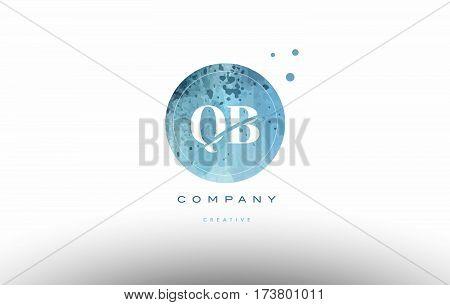 Qb Q B  Watercolor Grunge Vintage Alphabet Letter Logo