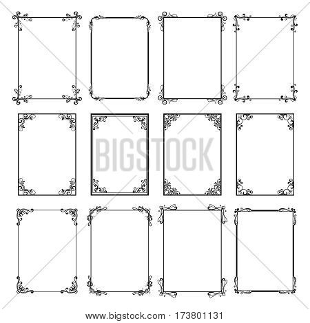 Decorative vintage frames. Vector black borders isolated on white background. Frame templates for cards design. Calligraphic frame for decoration menu illustration