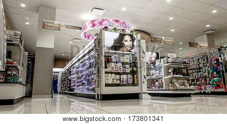 New York February 26 2017: Isles with merchandise in a beauty section of a Rite Aid pharmacy.