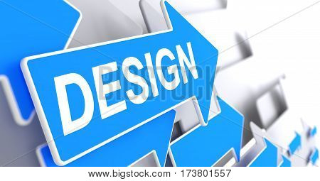 Design, Inscription on the Blue Cursor. Design - Blue Cursor with a Text Indicates the Direction of Movement. 3D.
