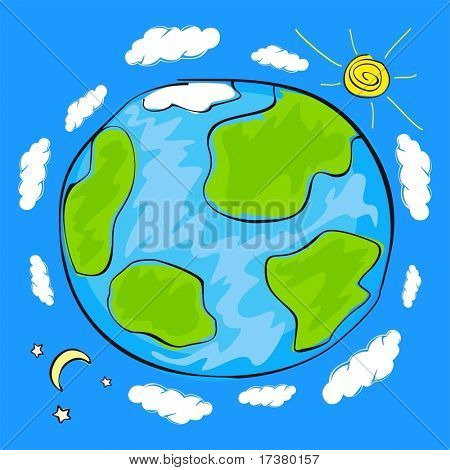 Child's drawing of the planet Earth