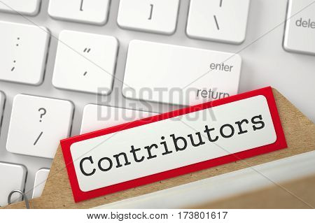 Red Sort Index Card with Inscription Contributors Concept on Background of Modern Keyboard. Closeup View. Blurred Image. 3D Rendering.