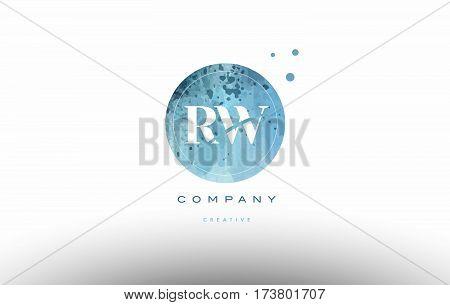 Rw R W  Watercolor Grunge Vintage Alphabet Letter Logo