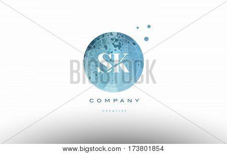 Sk S K  Watercolor Grunge Vintage Alphabet Letter Logo