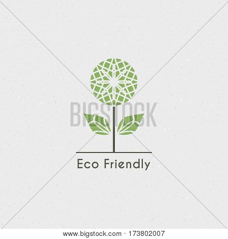 Ecological logo template. Vector flower emblem for eco foundations, organic products, natural food and medicine, green technology