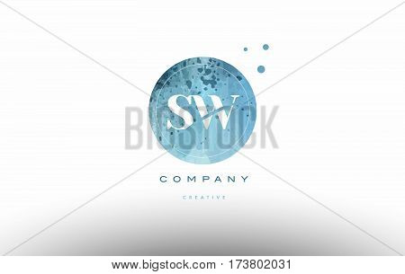 Sw S W  Watercolor Grunge Vintage Alphabet Letter Logo