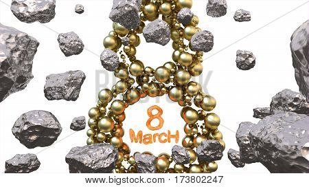 8 March symbol. Figure of eight made of golden spheres flying in the space with asteroids. Can be used as a decorative greeting grungy or postcard for international Woman's Day. 3d illustration.