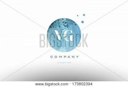 Vg V G  Watercolor Grunge Vintage Alphabet Letter Logo