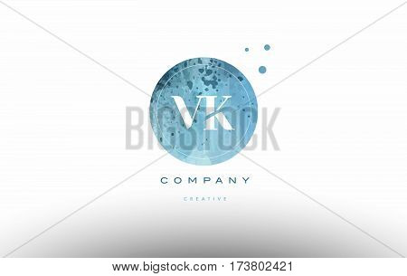 Vk V K  Watercolor Grunge Vintage Alphabet Letter Logo