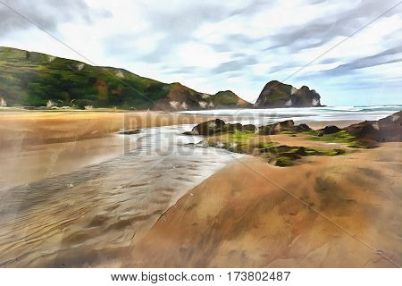 Water flowing on the beach with a hillock and a cloudy sky in the background