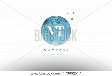 Vt V T  Watercolor Grunge Vintage Alphabet Letter Logo