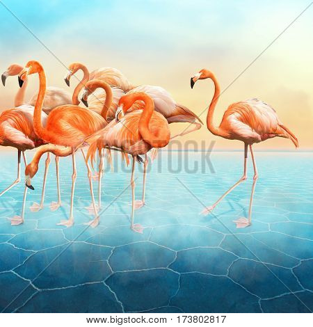 Compositing with a range of red flamingo at left side in the blue surreal desert with a sunset sky