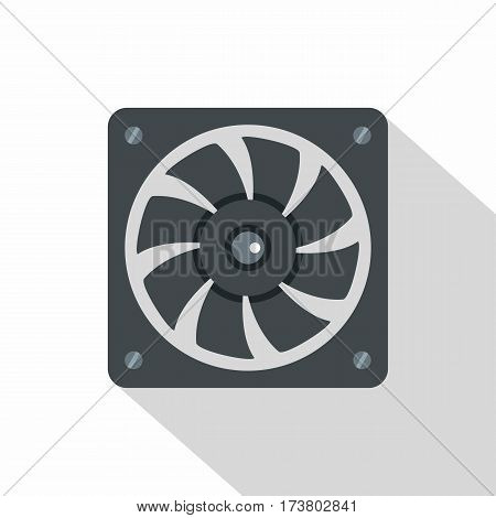 Computer power supply fan icon. Flat illustration of computer power supply fan vector icon for web isolated on white background