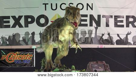 TUCSON, ARIZONA, FEBRUARY 20. The Tucson Expo Center on February 20, 2017, in Tucson, Arizona. A Velociraptor Dinosaur Prowls T-Rex Planet at the Tucson Expo Center in Tucson, Arizona.