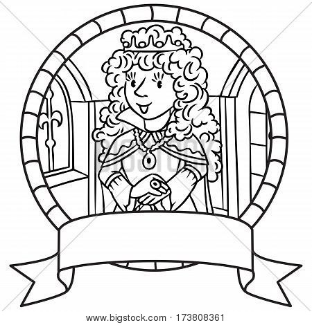 Coloring book or emblem of beautiful queen or princess in medieval dress, the crown and the mantle, with long blonde curly hair. Profession series. Childrens vector illustration.