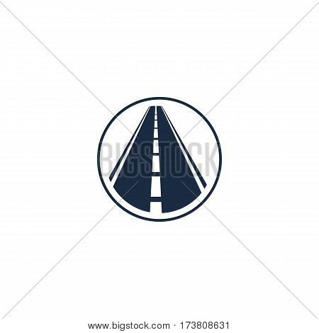 Isolated abstract highway element in circle logo, round shape logotype with road on white background vector illustration.