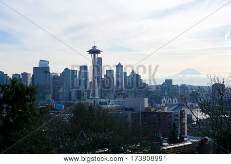 SEATTLE, WASHINGTON, USA - JAN 23rd, 2017: Seattle skyline panorama seen from Kerry Park during the morning light with Mount Rainier in the background.