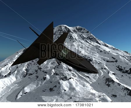he plane flys by in a mountain landscape