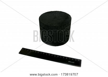 piece of black coal isolated on white background.