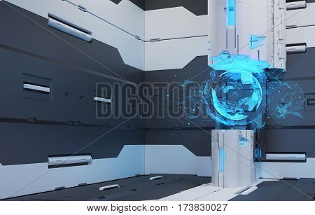 The interior of the future. The projection of the earth. Volume hologram. Futuristic interface. 3D Rendering. 3D illustration