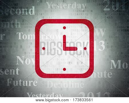 Timeline concept: Painted red Watch icon on Digital Data Paper background with  Tag Cloud