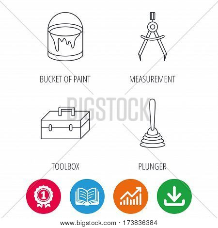 Measurement, plunger and repair toolbox icons. Bucket of paint linear sign. Award medal, growth chart and opened book web icons. Download arrow. Vector