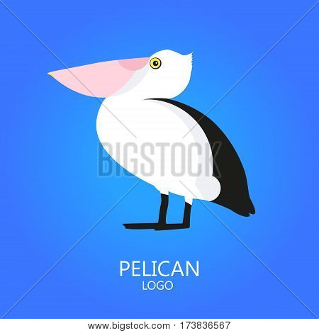 Pelican vector icon on blue background. Logo. Flat design.