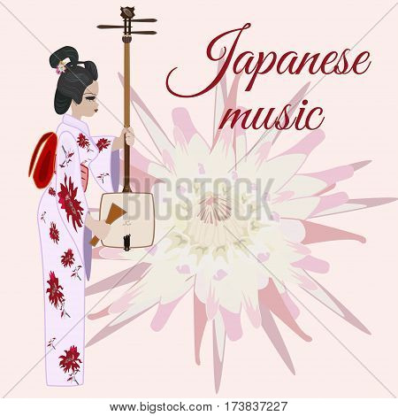 Vector japanese music template. Musician girl with shamisen string musical instrument. Chrysanthemum flower symbol of Japan background. Flat style design element.