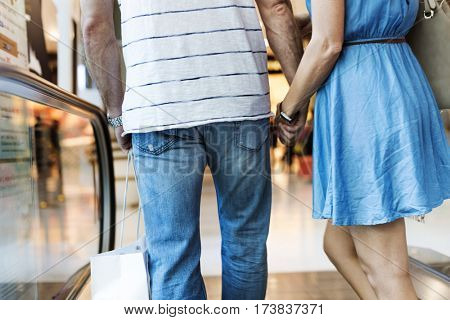 Couple Body Part Shopping Concept