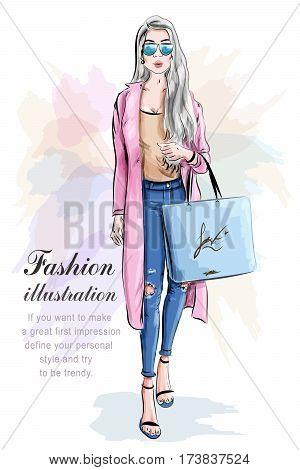 Fashion girl with shopping bag. Fashion set. Stylish woman. Vector illustration.
