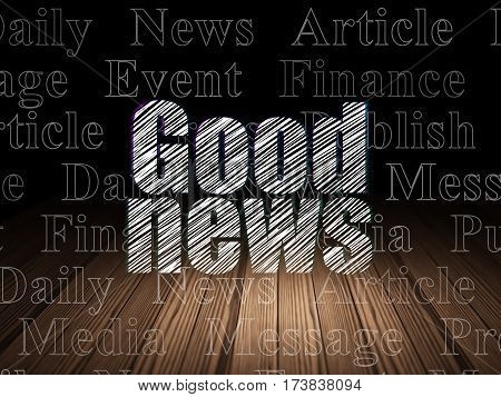 News concept: Glowing text Good News in grunge dark room with Wooden Floor, black background with  Tag Cloud