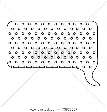 monochrome contour with callout for dialogue shape of rectangle with background dots vector illustration