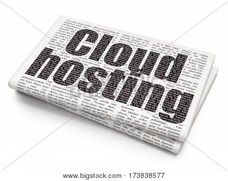 Cloud technology concept: Pixelated black text Cloud Hosting on Newspaper background, 3D rendering