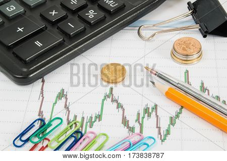 Dow Jones Business Chart With Calculator, Paper Clips, Coins And Pencil