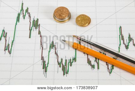Dow Jones Business Chart With Paper Clips, Coins And Pencil