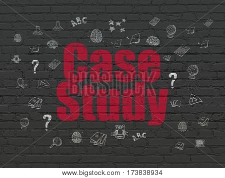 Learning concept: Painted red text Case Study on Black Brick wall background with  Hand Drawn Education Icons