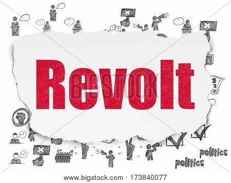 Politics concept: Painted red text Revolt on Torn Paper background with  Hand Drawn Politics Icons