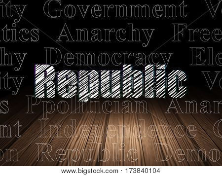 Politics concept: Glowing text Republic in grunge dark room with Wooden Floor, black background with  Tag Cloud
