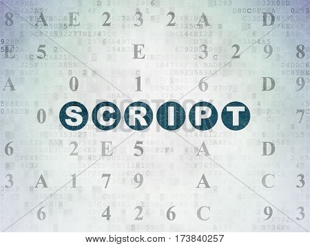 Software concept: Painted blue text Script on Digital Data Paper background with Hexadecimal Code