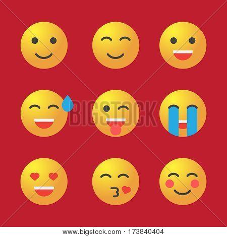 Emoticon set. Collection of Emoji. 3d emoticons vector