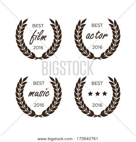 Awards for best. Black color film award wreaths isolated