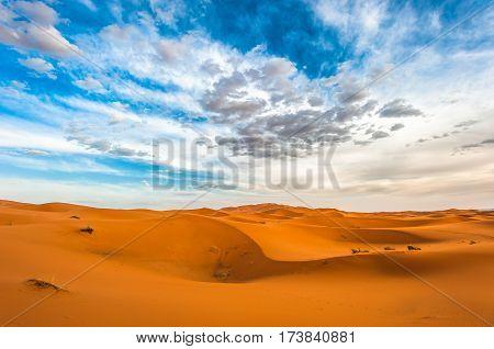 Sand dunes of Erg Chebbi in Morocco